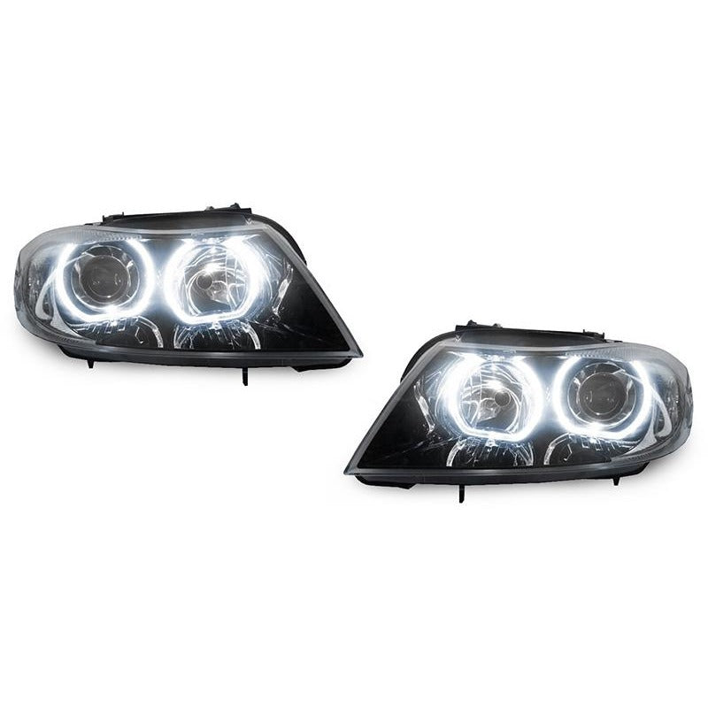 DEPO BMW E90 / E91 06-08 PROJECTOR HEADLIGHTS WITH V3 F30 STYLE ANGEL EYES