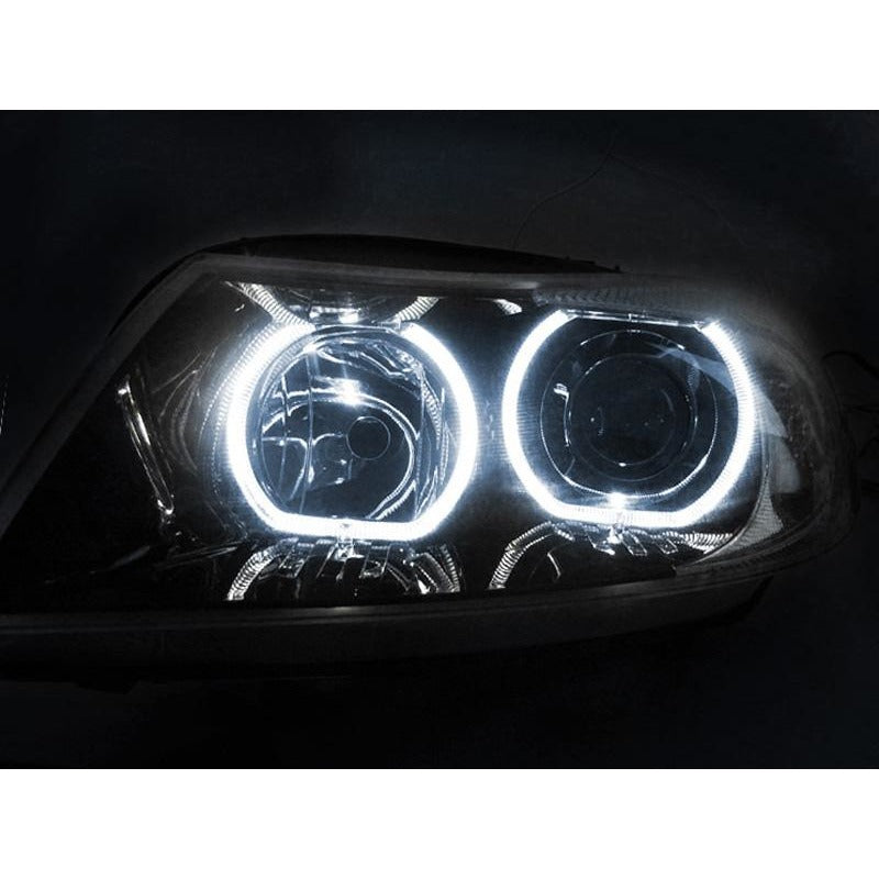 ... DEPO BMW E90 / E91 06-08 PROJECTOR HEADLIGHTS WITH V3 F30 STYLE ANGEL  EYES ...