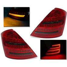 w221 red clear facelift style led tail lights