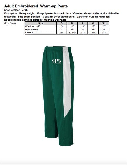 Adult Embroidered Warm-up Pants