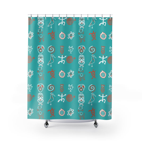 Taino Boriken Teal Shower Curtains