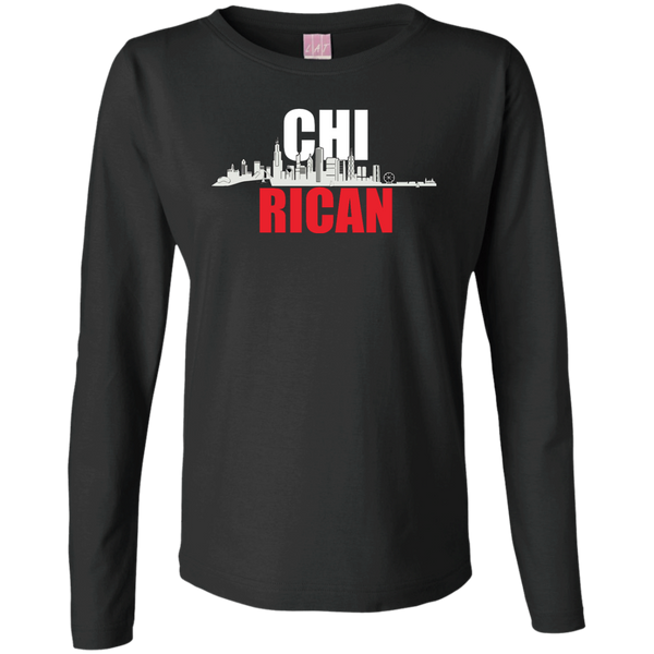 Chi Rican Ladies Long Sleeve Cotton TShirt - PR FLAGS UP