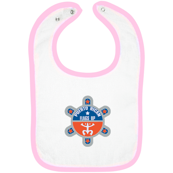 Puerto Rican Flags Up Infant Terry Snap Bib - PR FLAGS UP