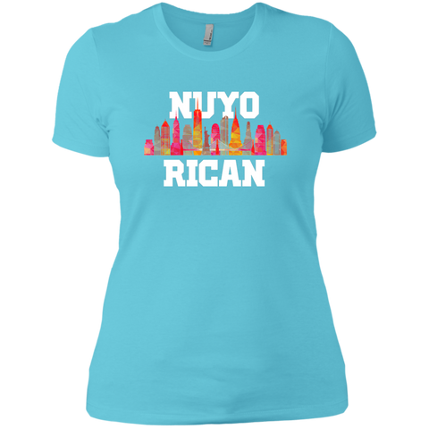 Nuyo Rican 2 NL3900 Next Level Ladies' Boyfriend T-Shirt - PR FLAGS UP
