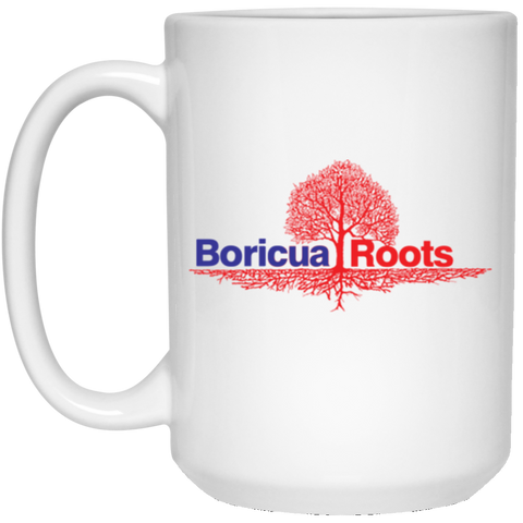 Boricua Roots Blue & Red Logo 21504 15 oz. White Mug - PR FLAGS UP