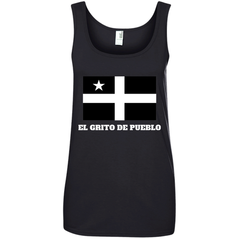 El Grito De Pueblo 882L Anvil Ladies' 100% Ringspun Cotton Tank Top - PR FLAGS UP