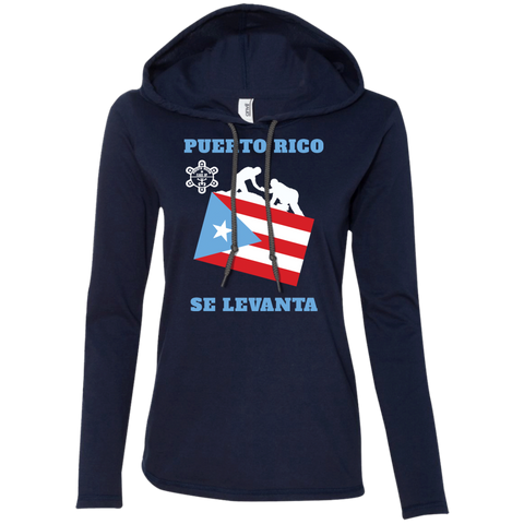 PUERTO RICO SE LEVANTA 887L Anvil Ladies' LS T-Shirt Hoodie - PR FLAGS UP