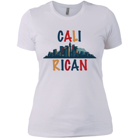 Cali Rican NL3900 Next Level Ladies' Boyfriend T-Shirt - PR FLAGS UP