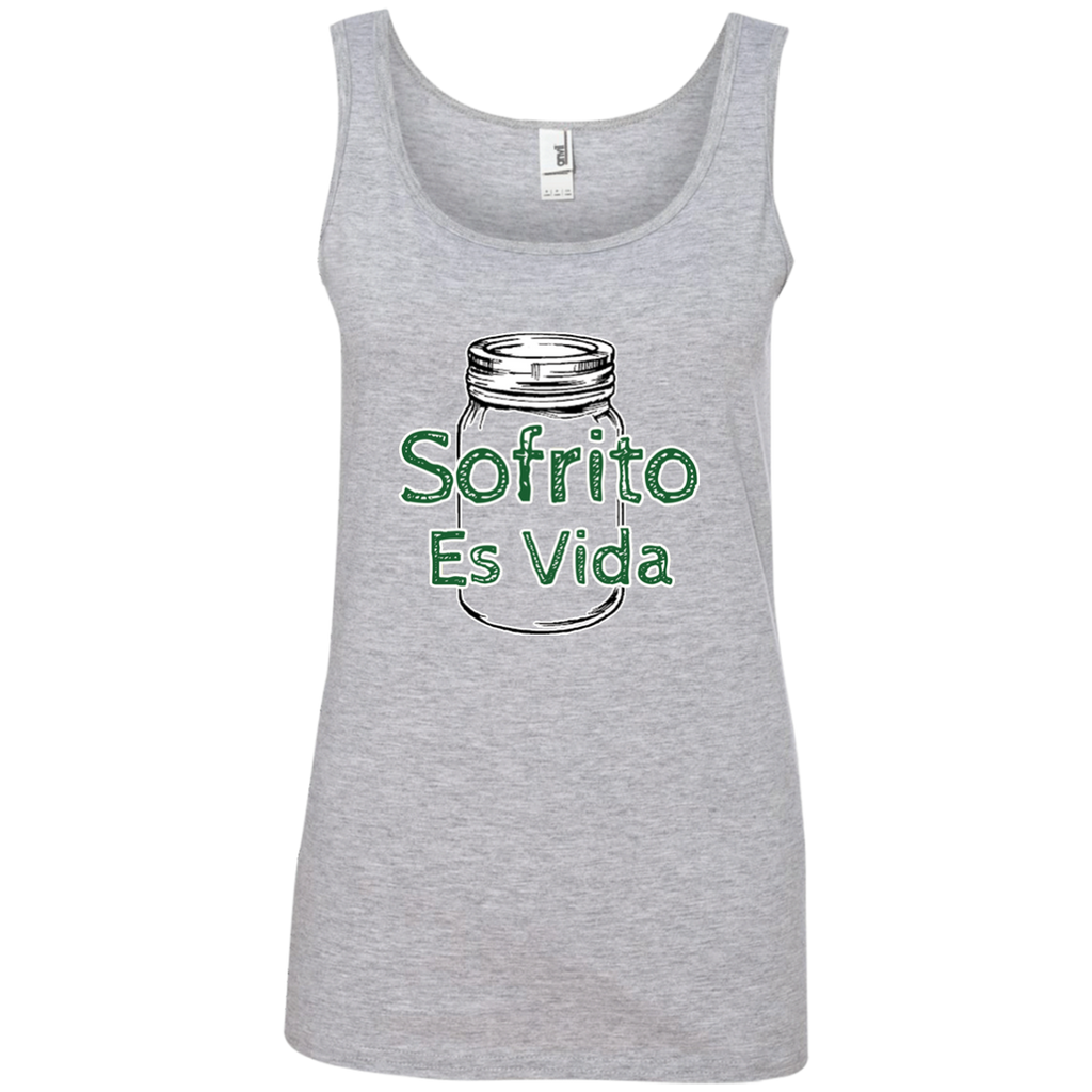Sofrito Es Vida Ladies' 100% Ringspun Cotton Tank Top - PR FLAGS UP