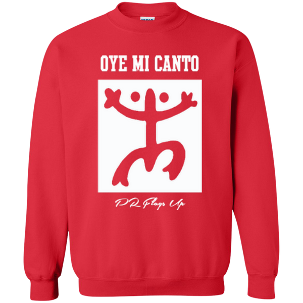 Oye Mi Canto El Coqui Printed Crewneck Pullover Sweatshirt  8 oz - PR FLAGS UP