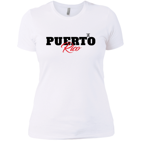Puerto Rico Black Script 1 Next Level Ladies' Boyfriend Tee - PR FLAGS UP