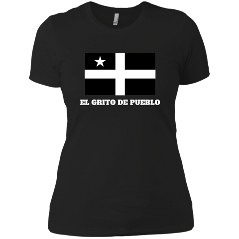 El Grito De Pueblo NL3900 Next Level Ladies' Boyfriend T-Shirt - PR FLAGS UP
