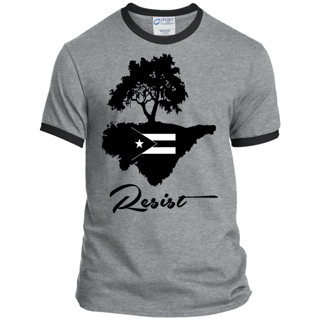 Resist PC54R Port & Co. Ringer Tee - PR FLAGS UP