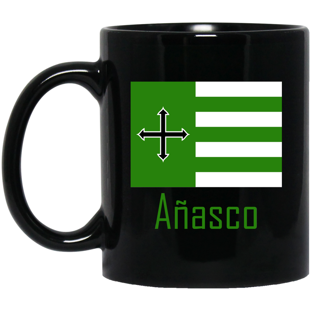 Añasco Flag BM11OZ 11 oz. Black Mug - PR FLAGS UP