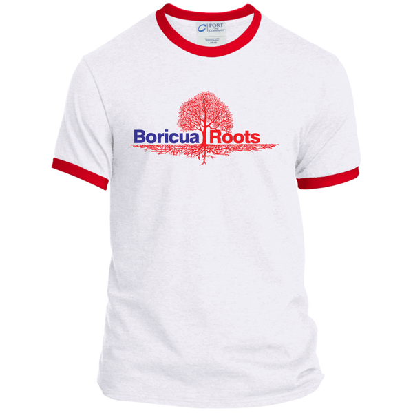 Boricua Roots Blue & Red Logo PC54R Port & Co. Ringer Tee - PR FLAGS UP