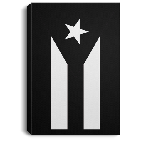 Black Flag of Puerto Rico CANPO75 Portrait Canvas .75in Frame - PR FLAGS UP