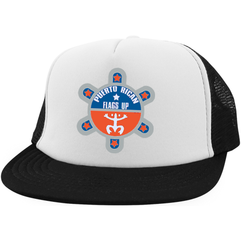 Puerto Rican Flags Up Trucker Hat with Snapback