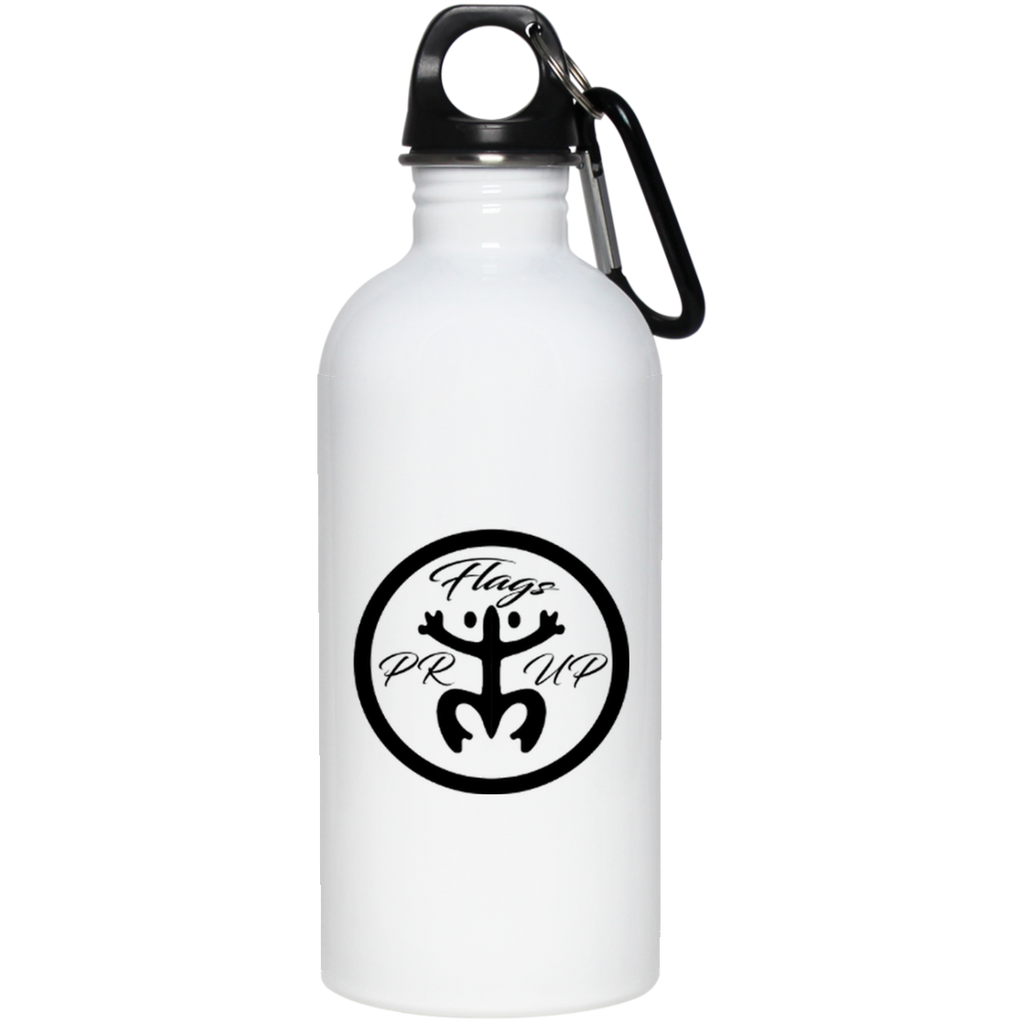 PR Flags Up Circle Logo 20 oz Stainless Steel Water Bottle - PR FLAGS UP