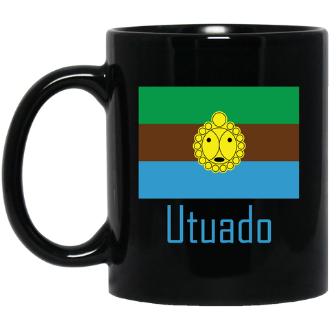 Utuado BM11OZ 11 oz. Black Mug - PR FLAGS UP