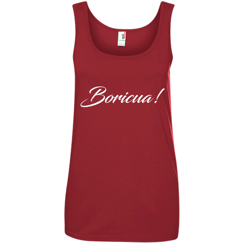 Boricua Ladies' 100% Ringspun Cotton Tank Top - PR FLAGS UP