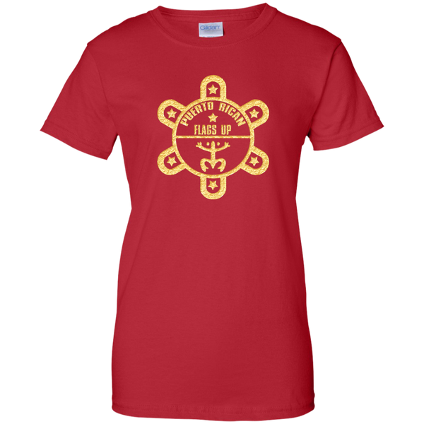 PR Flags UP Gold Logo Ladies Custom 100% Cotton T-Shirt - PR FLAGS UP