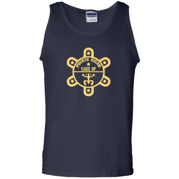 PR Flags UP Gold Logo 100% Cotton Tank Top - PR FLAGS UP