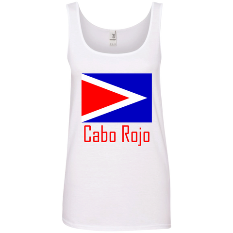 Cabo Rojo Flag 882L Anvil Ladies' 100% Ringspun Cotton Tank Top - PR FLAGS UP