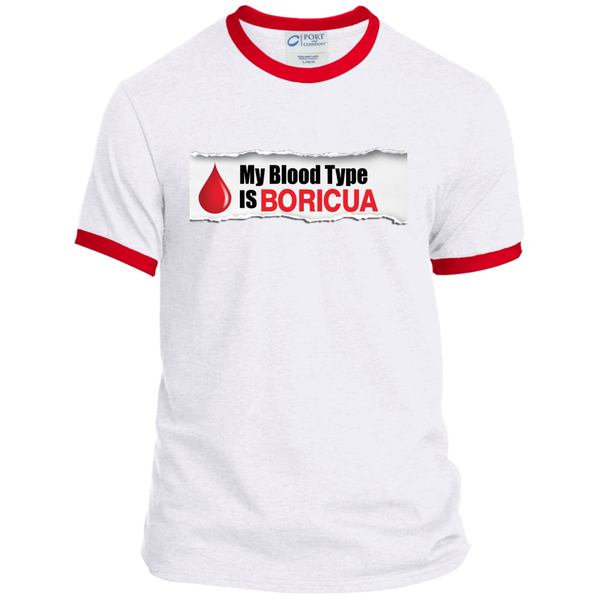 Blood Type Personalized Ringer Tee - PR FLAGS UP