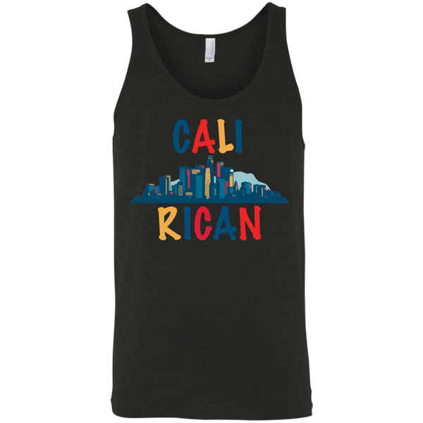 Cali Rican 3480 Bella + Canvas Unisex Tank - PR FLAGS UP