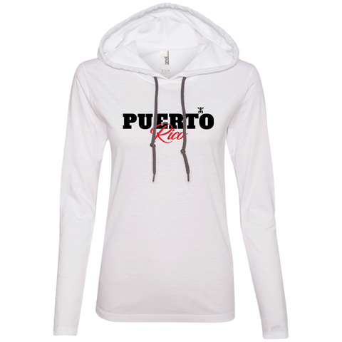 Puerto Rico Black Script 1 Ladies' LS T-Shirt Hoodie - PR FLAGS UP