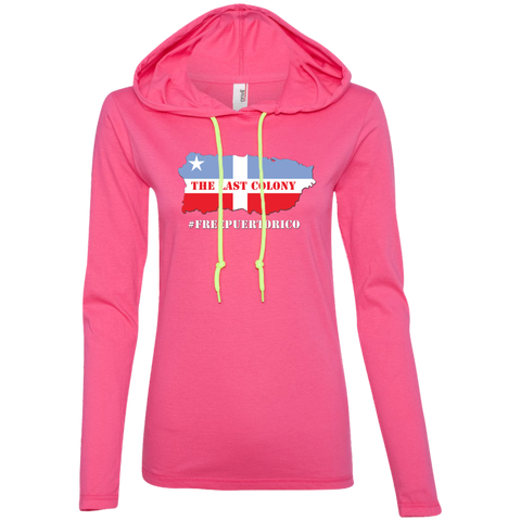 The Last Colony Ladies LS T-Shirt Hoodie - PR FLAGS UP