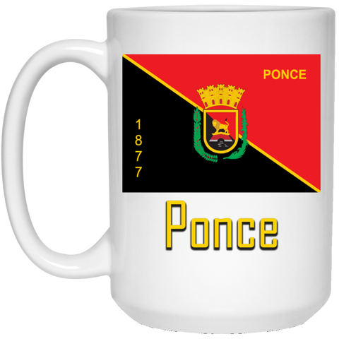Ponce Flag 21504 15 oz. White Mug - PR FLAGS UP