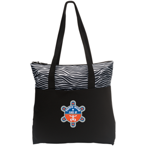 Puerto Rican Flags Up Zip Top Tote