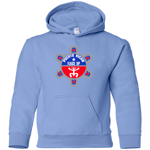 Puerto Rican Flags Up Youth Pullover Hoodie - PR FLAGS UP