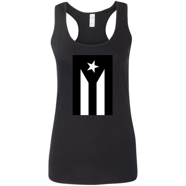 Black Flag of Puerto Rico G645RL Gildan Ladies' Softstyle Racerback Tank - PR FLAGS UP