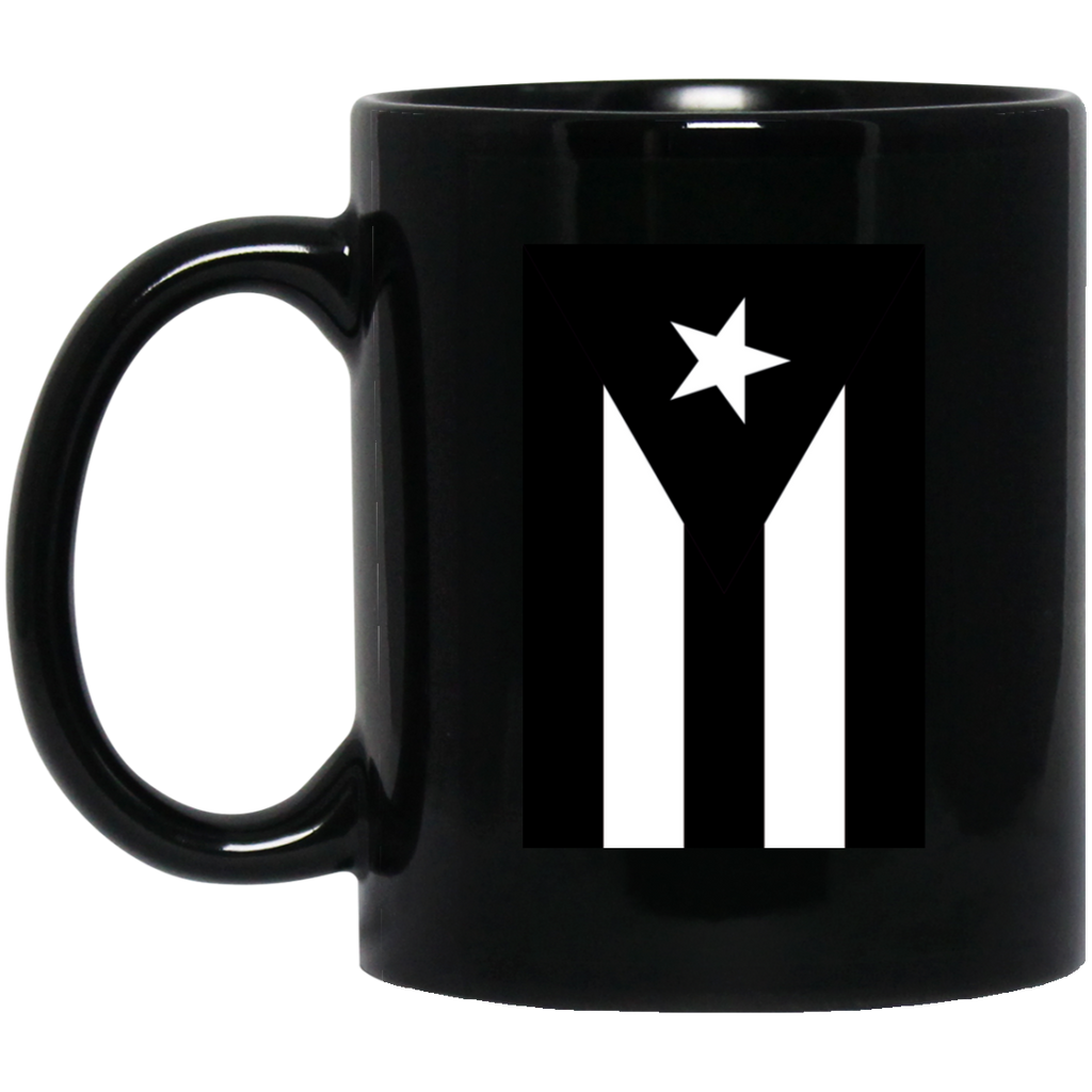Black Flag of Puerto Rico BM11OZ 11 oz. Black Mug - PR FLAGS UP