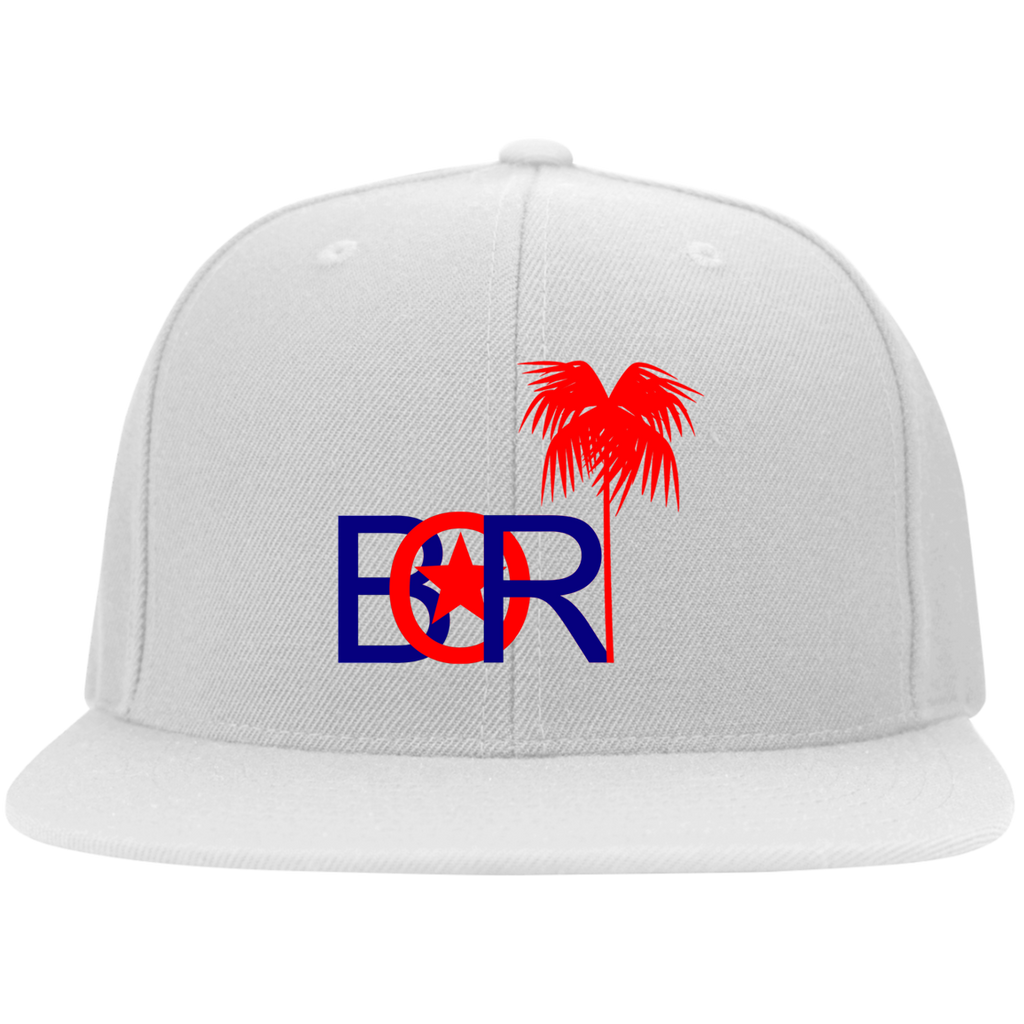 Bori Red & Blue Logo 6297F Yupoong Flat Bill Twill Flexfit Cap - PR FLAGS UP