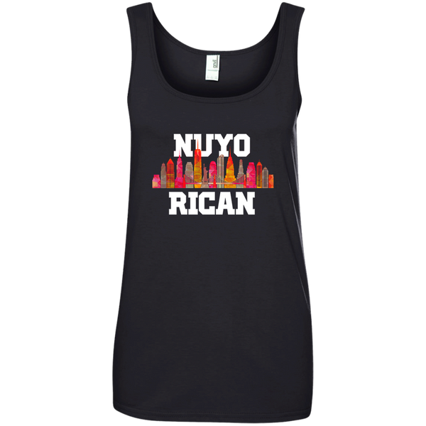 Nuyo Rican 2 882L Anvil Ladies' 100% Ringspun Cotton Tank Top - PR FLAGS UP
