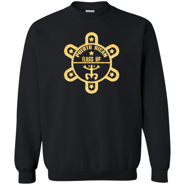PR Flags UP Gold Logo Printed Crewneck Pullover Sweatshirt  8 oz - PR FLAGS UP