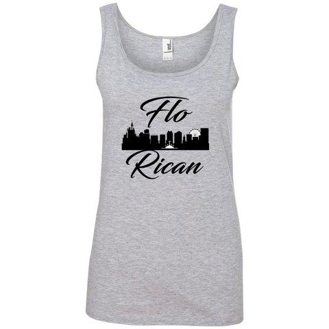 Flo Rican 1  882L Anvil Ladies' 100% Ringspun Cotton Tank Top - PR FLAGS UP