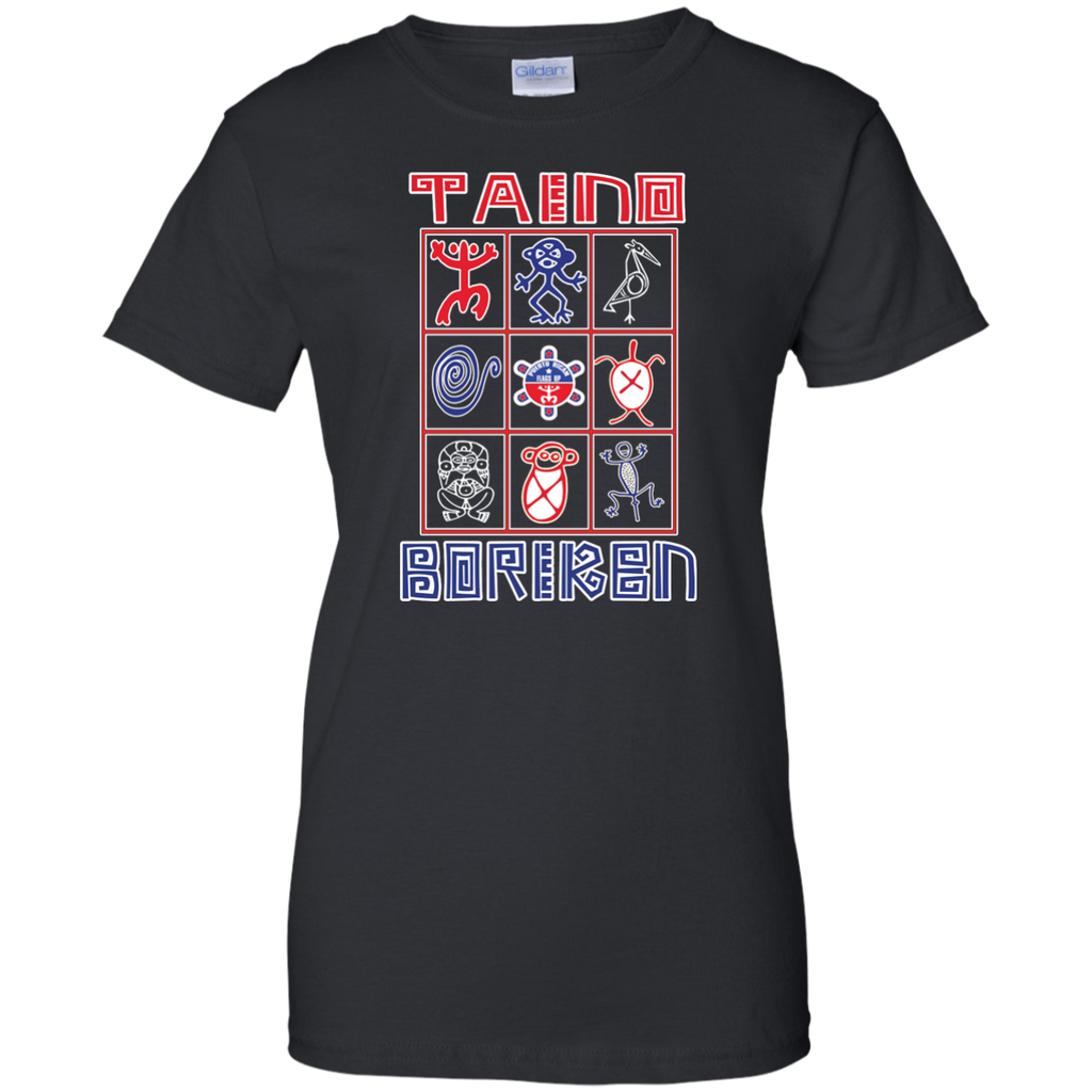 Taino Boriken Ladies Custom 100% Cotton T-Shirt - PR FLAGS UP
