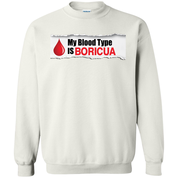 Blood Type Printed Crewneck Pullover Sweatshirt  8 oz - PR FLAGS UP