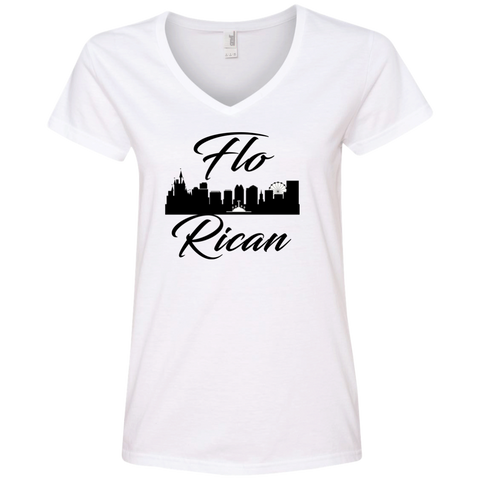 FloRican 1 88VL Anvil Ladies' V-Neck T-Shirt - PR FLAGS UP