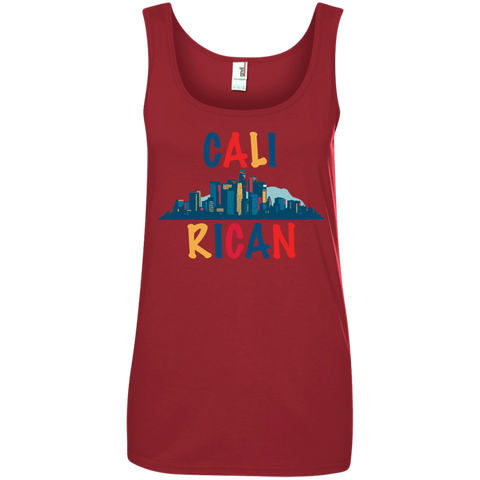 Cali Rican 882L Anvil Ladies' 100% Ringspun Cotton Tank Top - PR FLAGS UP