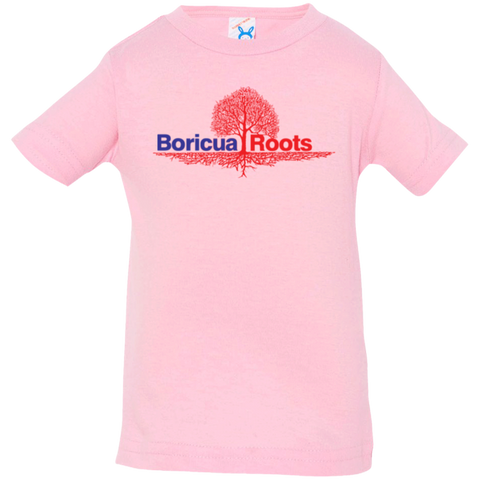Boricua Roots Red & Blue Logo 3322 Rabbit Skins Infant Jersey T-Shirt - PR FLAGS UP