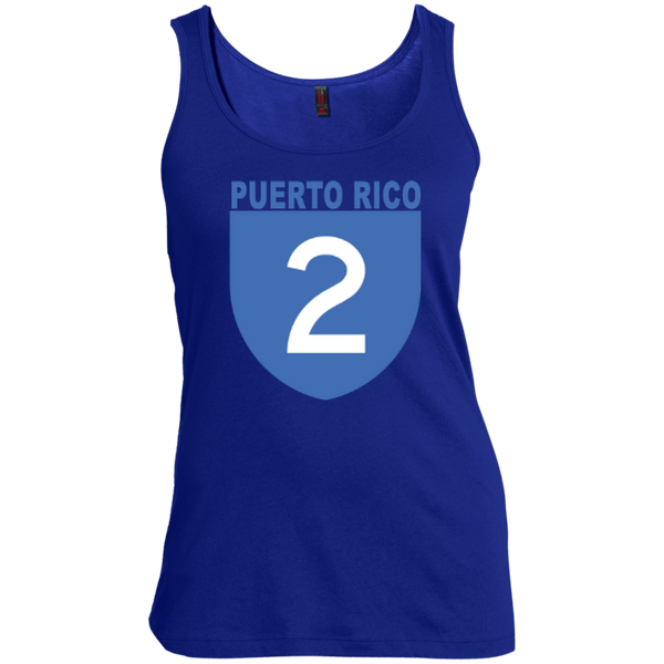 La Numero 2 DM481 District Made Women's Scoop Neck Tank Top - PR FLAGS UP