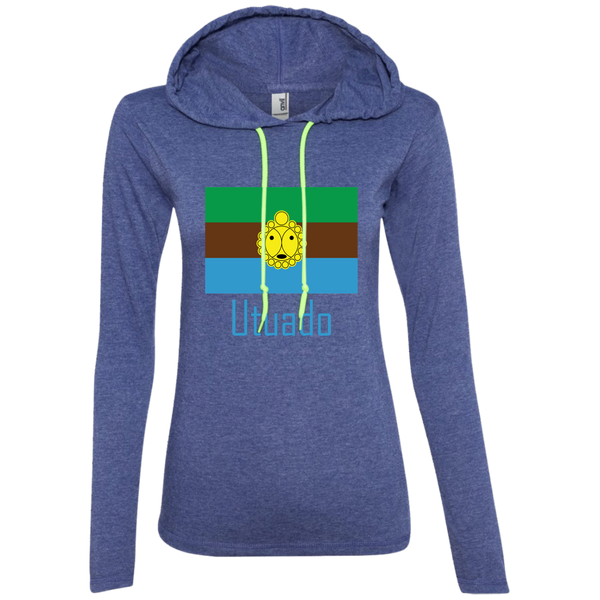 Utuado 887L Anvil Ladies' LS T-Shirt Hoodie - PR FLAGS UP