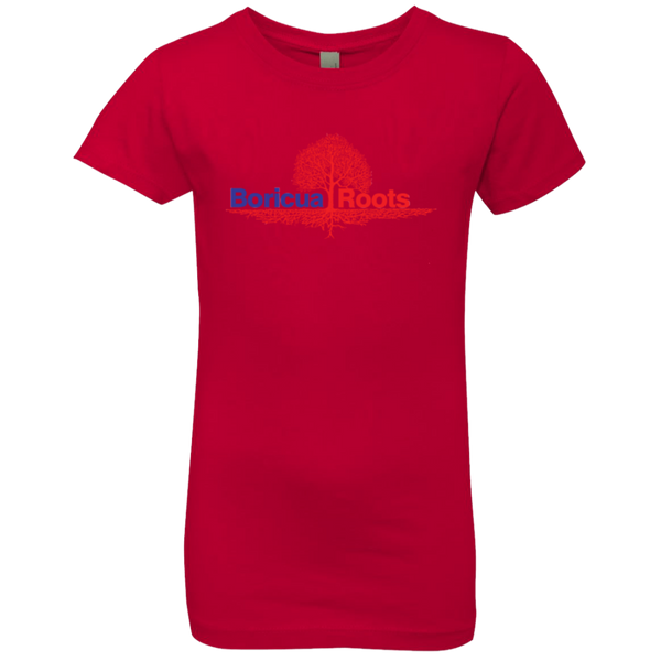 Boricua Roots Red & Blue Logo NL3710 Next Level Girls' Princess T-Shirt - PR FLAGS UP