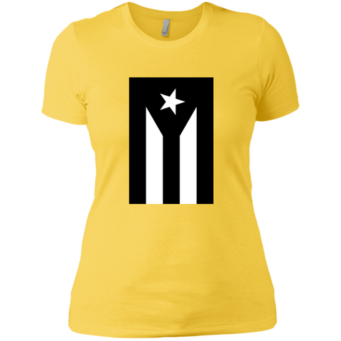 Black Flag of Puerto Rico NL3900 Next Level Ladies' Boyfriend T-Shirt - PR FLAGS UP