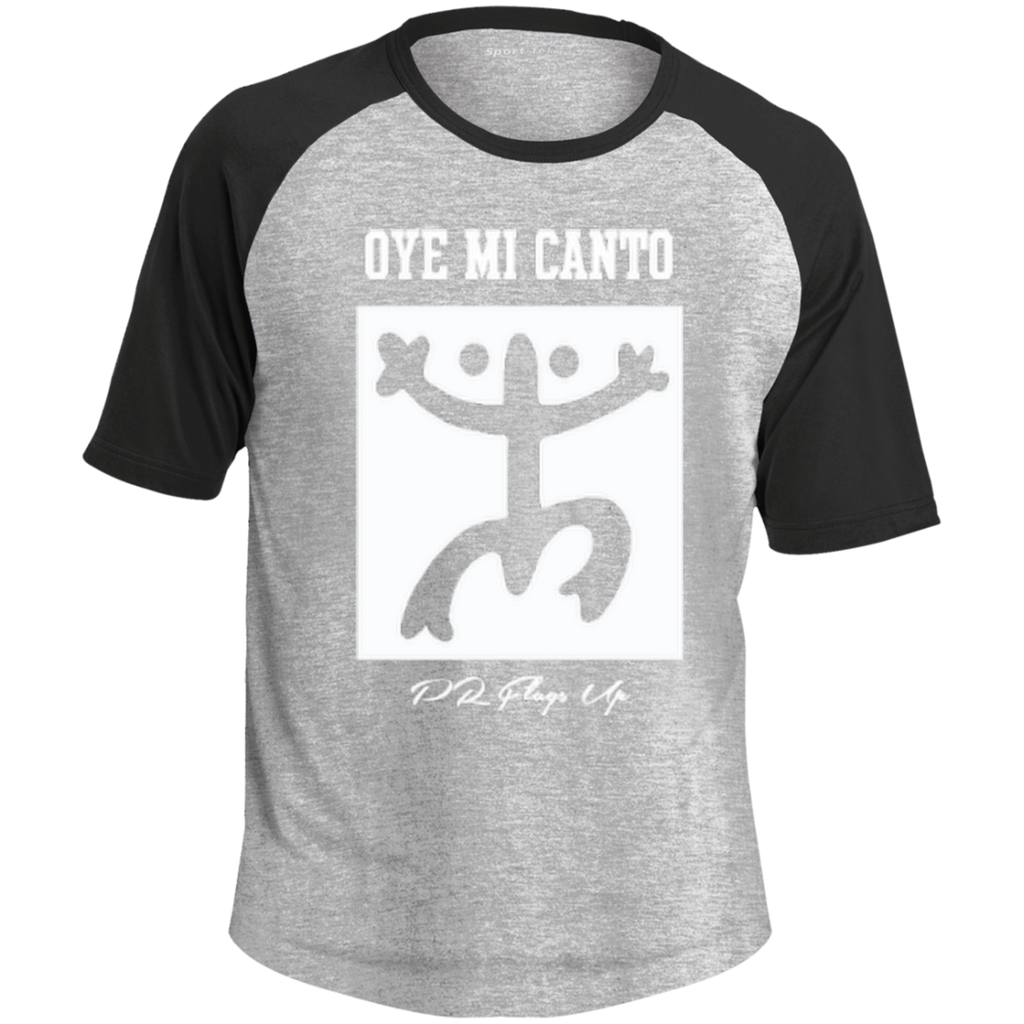 Oye Mi Canto El Coqui Adult SS Colorblock Raglan Jersey - PR FLAGS UP